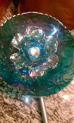 teal flower plate - sparkly