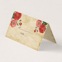 Elegant Country Rustic Rose Garden Wedding Place Card - country wedding gifts marriage love couples diy customize