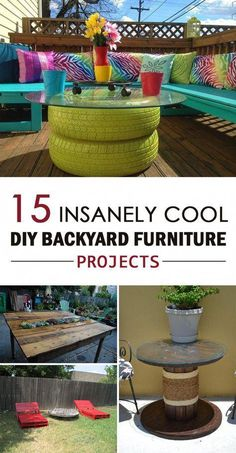 Pallet Outdoor Furniture 15 Insanely Cool DIY Backyard Furniture Projects - They can be very fun and easy to make. - Find some old pallets, tires or any junk you have and create something functional but in the same time creative out of it. Outdoor Furniture Plans, Diy Garden Furniture, Pallet Furniture, Furniture Projects, Furniture Design, Rustic Furniture, Antique Furniture, Outside Furniture, Furniture Refinishing