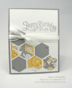 Quick and Cute card using Stampin' Up!'s Hexagon Punch, created by Dawn Olchefske (dostamping) #cardmaking #punches