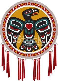 Culture indigène, Tambour, Alaska, Aigle, Coeur Illustration vectorielle libre de droits