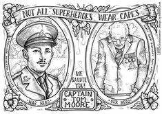 Captain Tom Moore colouring page Teacher Awards, Tom Moore, Coloring Pages, Colouring Sheets, Daily Motivational Quotes, Battle Of Britain, Classroom Displays, Best Teacher, Toms