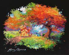 """Along the Path in Autumn"" by James Coleman - Original Artwork, 16x20.  #Disney #WinnieThePooh #Tigger #DisneyFineArt #JamesColeman"