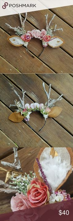 Deer antler headband halloween costume This is one of two adorable deer antler headbands I made for myself and my daughter for halloween. Our family dressed up as lumberjacks and deer and these made our animal costumes unique! This listing is for one headband made with fake flowers, snowy glittering antlers, fuzzy ears, and snowy greens. It is accented with gold throughout. You can see some tape used to help hold parts, but once it is in your hair, it isnt noticeable. Accessories Hair…