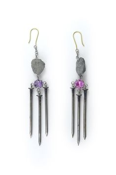Philip Sajet earrings... lovely use of nails (jewelry with nails)