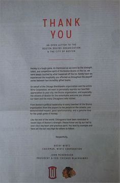 Stanley Cup champion Chicago Blackhawks take out full-page Globe ad to thank Bruins, City of Boston