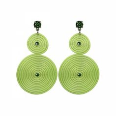 Lacrom Store || Claudia Baldazzi, Accessories, Classic Spiral Earrings  Earrings in silk string and golden brass details, Peridot Swarovski elements and pins.