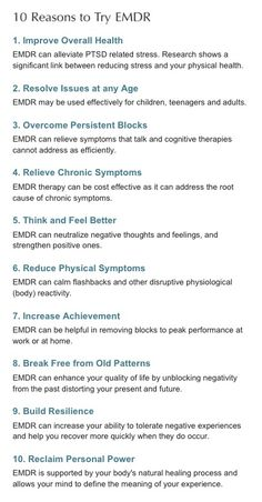Ten Reasons for EMDR - For quicker resolution
