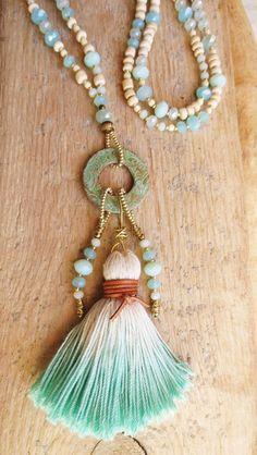 Charm & Charm Necklaces - Boho Charm Bracelet turquoise cream tassel mint - a . Tassel Jewelry, Tribal Jewelry, Boho Necklace, Charm Jewelry, Fashion Necklace, Beaded Jewelry, Handmade Jewelry, Colar Boho, Bracelet Turquoise