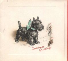 vintage Christmas Greetings card with a Scottie