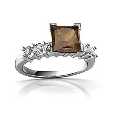 Jewels For Me 14kt Gold Smoky Quartz and Diamond 6mm Square Engagement Ring