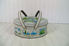 Large Antique Lithograph Tin Sewing / Lunch Basket - Vintage Oval 5 Color Metal Box with Lid & Double Handles - Turn of the Century Sketches
