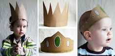 Tutorial for making funky Cardboard Crowns Make A Crown, Diy Crown, Kids Crafts, Crafts To Make, Fabric Crown, Kids Book Club, Felt Crown, Little King, Fabulous Birthday