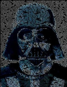 Yes, technically this belongs in my Geek Girl Board, but I am putting it here so I don't forget to try to create a similar design with a different subject. (Darth Vader Quotes Mosaic Digital Art)