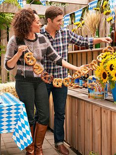 Oktoberfest: Eat with Your Eyes! The only thing better than cool decorations are ones you can eat! Make a pretzel garland (thread twine through the top loops or use an upholstery needle) and hang it. Tell guests to tear them off if they're hungry!