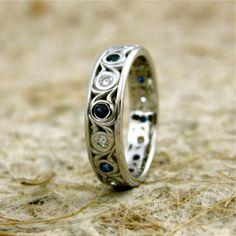 Diamond Blue Sapphire 14K White Gold Swirly Wedding Band Ring 4.5 mm Wide