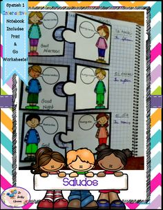 Spanish 1 Saludos - Greetings Puzzles - Interactive Notebooks  Saludos - Greetings Puzzles  (Each activity also has student instructions, 2 levels of difficulty -a page with answers and a page without, print & go pages, and color/black & white pages.) $