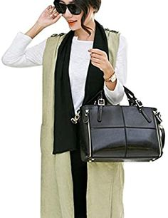 Amazon.com: Women Handbags, Neartime 2018 Fashion Leather Versatile Shoulder Messenger Bag Patchwork Satchel Tote Bags (32cm(L)×12cm(W)×23cm(H), Black): Sports  Outdoors Mini Handbags, Tote Handbags, Tote Bags, Crossbody Messenger Bag, Satchel, Brand Store, Colorful Fashion, Fashion Prints, Leather Purses