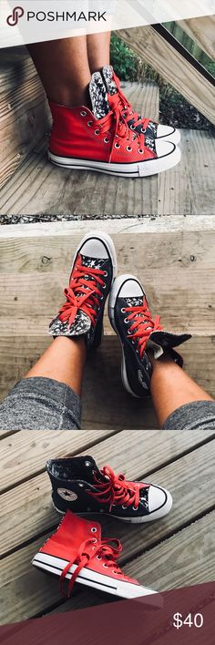 Converse All-Stars!! Navy blue and red color block with black and white stars tongue and back trim. Light discoloration shown in pic 6 and logo on heel is fading. Sneakers are still in very good used condition!! Converse Shoes Sneakers