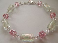 Pink Dichroic Glass Bracelet with Genuine by CapricesCreations, $22.00