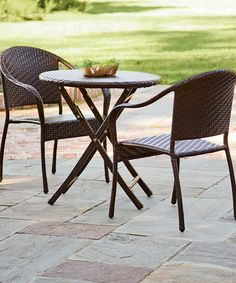 Another great find on #zulily! Black Outdoor Bistro Table Set #zulilyfinds