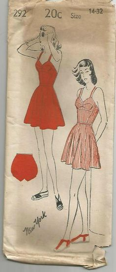 New York 292; ca. 1940s; Ladies' and Misses' Bathing Suit and Bloomers