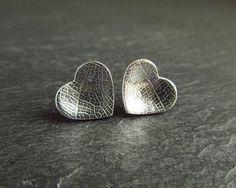 Sterling silver heart earrings stud earrings heart studs