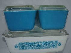 Pyrex Blue Horizon Refrigerator Dishes by BridgetsCollection, $34.99