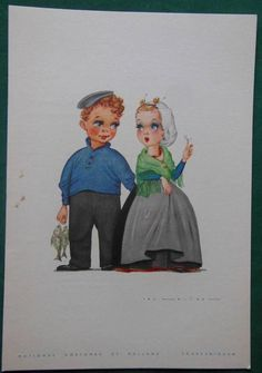 1964 HOLLAND-AMERICAN LINE CRUISE SHIP DINNER MENU JAN LAVIES DUTCH BOY GIRL #6