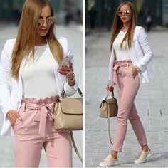 Long Pants with Bow Tie Waist Belt High Fashion Elegant Pink Women - Pants - Bottoms - Business kleidung damen - Damenmode Casual Work Outfits, Professional Outfits, Mode Outfits, Work Attire, Work Casual, Classy Outfits, Trendy Outfits, Fall Outfits, Business Professional