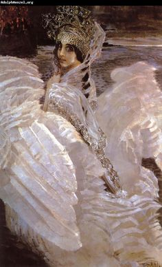 "Swan Princess, 1900 ..Mikhail Vrubel...reminds me of Ekaterina Maksimova in Russian dance of ""Swan lake""..."