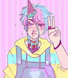 Soft guro anime boy pastel art