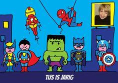 Superhelden uitnodiging voor een kinderfeestje. Je kunt zelf de tekst (ook in de helm) , de foto en de voorbeeldtekst binnen veranderen.