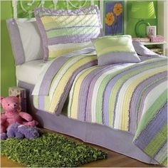Purple, Yellow, White, and Green Quilt
