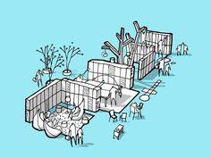Mesterfjellet School / Cebra, Various Architects, and Østengen & Bergo,Cebra sketch 04-garderobe : © Cebra / Various Architects / Østengen & Bergo