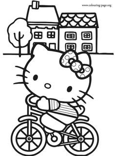 Look! It's an amazing coloring page of Hello Kitty riding a bike! She probably is exercising!