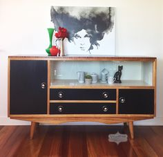 Vintage retro sideboard. Love the black and white with the refinished timber! Fusion Mineral Paint coal black and raw silk.