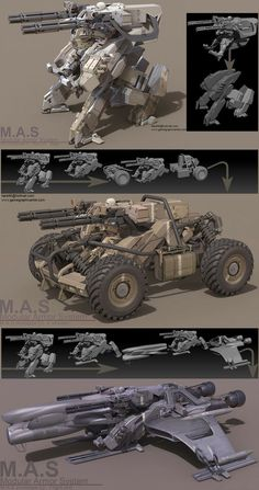 It's the concept art about M.S(Modular Armor System).They share the same main unit.Heavily inspired by MGS Rex and Ma.k Fledermaus. Cyberpunk, Robot Design, Art Design, 3d Mode, Arte Robot, Future Weapons, Sci Fi Ships, Weapon Concept Art, Ex Machina