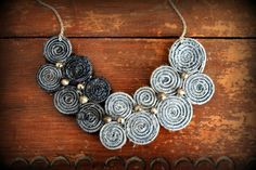 Recycled Jean Bib Necklace No24 by LoveandDream on Etsy. $38.00 USD, via Etsy.