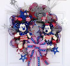 of July Mickey and Minnie Spring Door Wreaths, Deco Mesh Wreaths, Ribbon Wreaths, Patriotic Wreath, Patriotic Decorations, Holiday Decorations, Fourth Of July Decor, 4th Of July, Disney Wreath