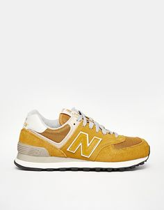 942486f9a383 New Balance 574 Yellow Mustard Suede Mesh Trainers Zapatos New Balance