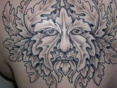 I'd love to get a Greenman tatt! But nothing big like this! Smaller and bright greens and yellows. Obviously this tatt isn't finished.
