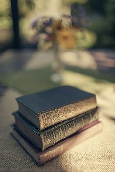 Old books in the morning's light.