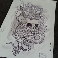 Skull and dragon tattoo sketch draw
