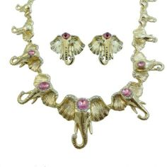 """Ever Faith Lots Elephant Necklace Earring Set Austrian Crystal Pink Oval Animal Ever Faith. $42.95. chain size 17.72"""" earring size 0.98"""" by 0.87"""". This is a remarkable and gorgeous necklace and earrings jewelry set which is in shape of many different sized noble and elegant elephants to satisfy your good taste.. A ¡®must-have¡¯ for the woman with confidence, this jewelry set is both provocative and graceful.. Pierced stud earrings."""