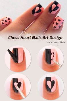 Easy Tutorials Of Hot Valentines Nails Designs Chess Heart Nails Design ❤️ Only fresh and trendy, not to mention incredibly easy, tutorials of valentines nails are gathered here. All you need to do is to pick your favorite one! ❤️ See more: [post_link] Heart Nail Designs, Nail Art Designs Videos, Diy Nail Designs, Simple Nail Designs, Acrylic Nail Designs, Cute Nail Art, Nail Art Diy, Diy Nails, Heart Nail Art