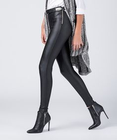 Loving this Black Zip-Accent Leggings on #zulily! #zulilyfinds