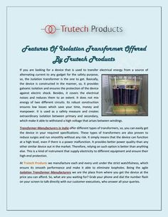Features Of Isolation Transformer Offered By Trutech Products