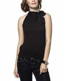 Look at this #zulilyfind! Black Tie-Top Sweater by L'Adore #zulilyfinds