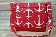 Diaper bag, medium size nappy sack / Red and white boat Anchors / adjustable messenger / Nautical, waterproof base by Darby Mack in stock